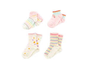 4 Pairs Socks Pastel With Non-Slip Baby Kids Kids