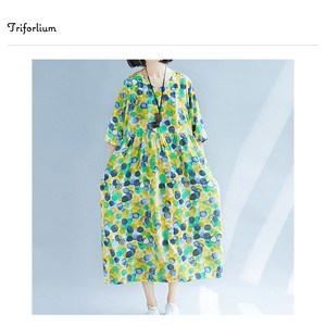 [ 2020NewItem ] 3 Colors Cotton Material Colorful Watercolor Dot Print One-piece Dress