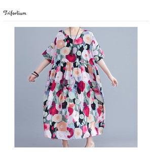 [ 2020NewItem ] Cotton Material Colorful Pattern One-piece Dress