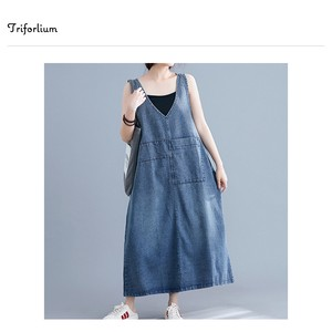 [ 2020NewItem ] wash processing Sleeveless Denim One-piece Dress