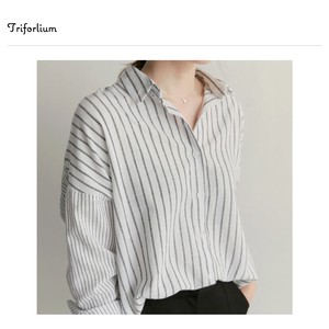 [ 2020NewItem ] Thin Cotton Material Stripe Long Sleeve Blouse