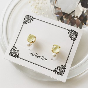 Resin Pierced Earring Petit Round Earring Color Powder Yellow