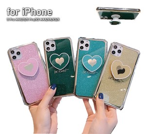 iPhone Glitter lame Metal Color Case Impact Stand Attached Heart