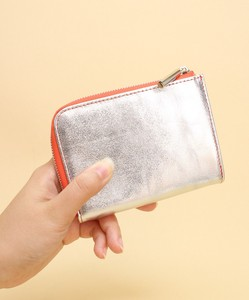 Cow Leather Metallic Middle Wallet