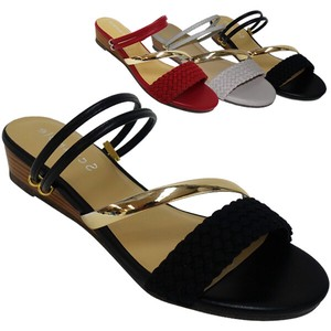 Sandal Diagonally Gold Bangle Double Leather Sandal Flat Edge