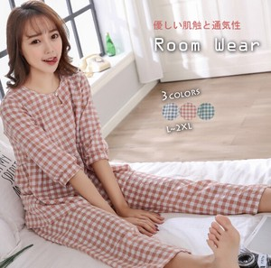 Ladies Pajama Loungewear Set Checkered Feeling