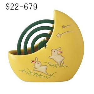 Japanese summer features Ornament Interior Mosquito Coil Stand Good Friends Rabbit Yellow