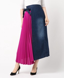 Pleats Denim Wrap Skirt