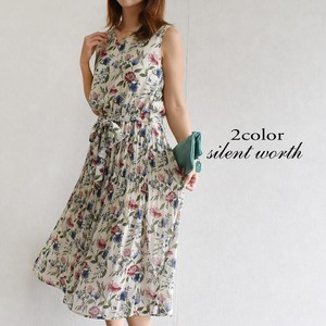 [ 2020NewItem ] Waist Floral Pattern Chiffon Pleats One-piece Dress