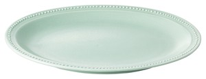 Dot Color Green Oval Plate Porcelain