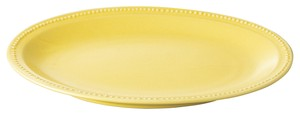 Dot Color Yellow Oval Plate Porcelain