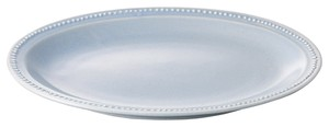 Dot Color Gray Oval Plate Porcelain