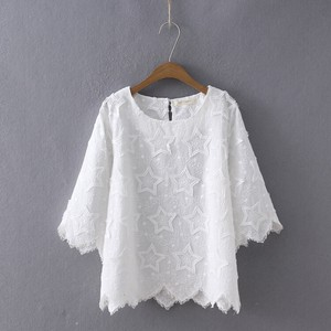 Embroidery Lace Shirt Three-Quarter Length Neck Shirt Top