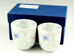 SOMETSUKE Overglaze Enamels Japanese Tea Cup Couple Japanese Tea Cup
