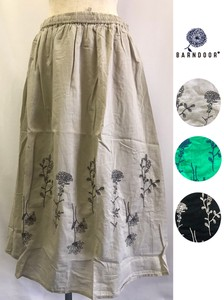India Panel Flower Embroidery Gather Skirt