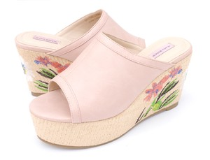 Heel Embroidery Wedge Sole Sandal Mule