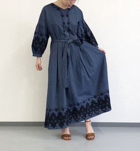Ice Wash Embroidery Denim Maxi Length One-piece Dress Original Embroidery