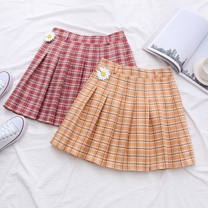 Checkered Pleats Short Skirt 2 Colors