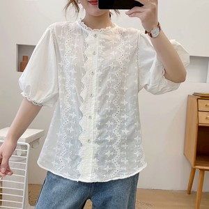 Pattern Embroidery Thin Shirt Top