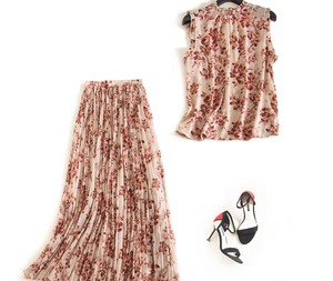 Chiffon Suits Neck Print Lean Pleats Skirt Set