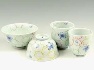 SOMETSUKE Overglaze Enamels Japanese Rice Bowl Japanese Tea Cup