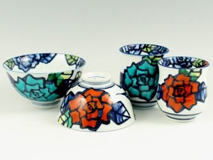 Hand-Painted rose Japanese Rice Bowl Japanese Tea Cup