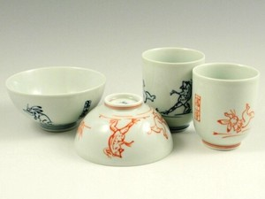 Temple Wildlife Caricature Japanese Rice Bowl Japanese Tea Cup