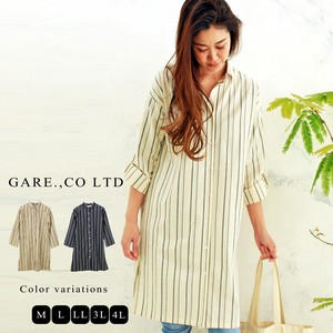 Bag Attached Stripe Shirt One Piece Tunic