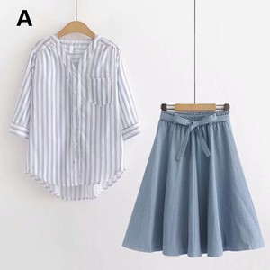 Thin Three-Quarter Length Shirt Plain Denim Skirt 2 Pcs Set