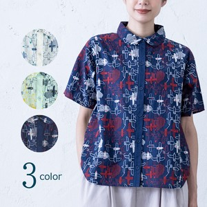 S/S Repeating Pattern Embroidery Shirt