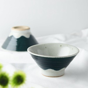 TESHIGOTO 12cm Mt. Fuji Japanese Rice Bowl Bleed Blue Mt. Fuji MINO Ware