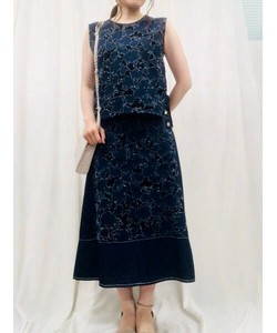Denim Jacquard Color Scheme Skirt