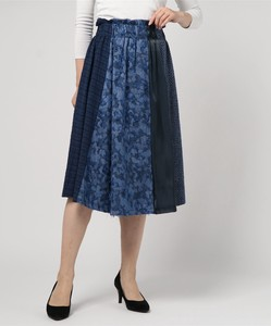 Denim Jacquard Switching Flare Skirt
