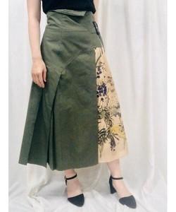 アートボタニカルプリント×チノ サイドプリーツ ロングスカート(オリジナルプリント)