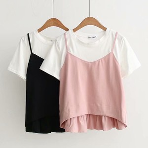 Color Switch Neck Leisurely Short Sleeve T-shirt Top