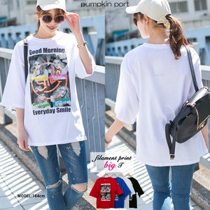 [ 2020NewItem ] Korea Cotton Front Photo Print Filament Print Big Long T-shirt