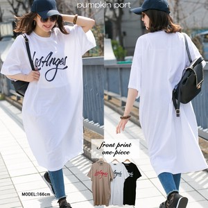 [ 2020NewItem ] Korea Cotton Front Alphabet Print Big Long T-shirt One-piece Dress