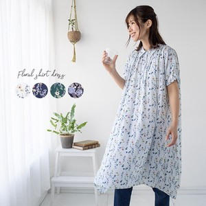 Ladies One-piece Dress Tunic Shirt One Piece Floral Pattern Shirt Line One-piece Dress