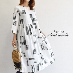 [ 2020NewItem ] Paint Print Gather Switching One-piece Dress