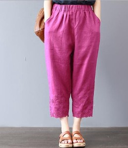 Ladies Plain Embroidery Thin Three-Quarter Length Pants