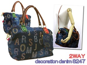 Decoration Denim 2-Way Overnight Bag A4 Shoulder Hand