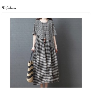 [ 2020NewItem ] Gingham Check Material One-piece Dress