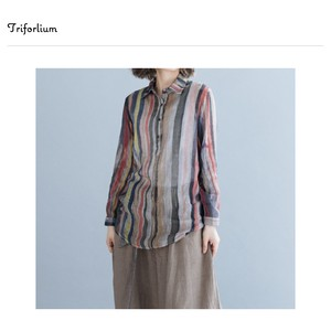 [ 2020NewItem ] Thin Cotton Material Stripe Print Blouse