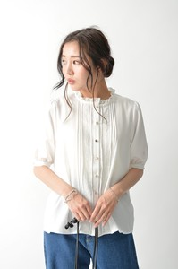 Button Half Length High Neck Blouse