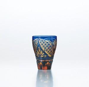 Flower Kiriko Tumbler Lapis Lazuli China Hand Maid Crystal Glass Glass