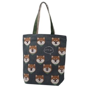 Face Zipper Top Canvas Tote