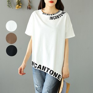 3 Colors Irregularity English Character Leisurely Plain Short Sleeve T-shirt