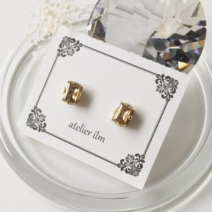 Resin Pierced Earring Petit Round Earring Champagne Gold
