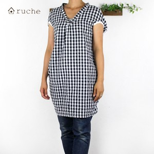 Checkered Color Scheme Tunic Natural