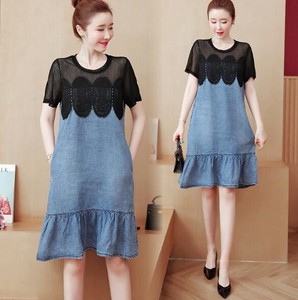Ladies Lace Connection Matching Denim One-piece Dress